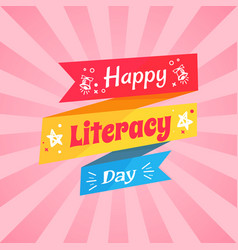 Happy literacy day wish on multicolored doodle vector