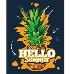 Hello summer fruit background with tropical vector image vector image