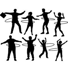Hula hoop people vector image vector image