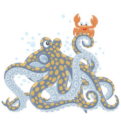 Octopus and crab vector