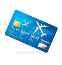 realistic 3d detailed credit card with plane vector image vector image
