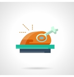 Stylish flat color roasted poultry icon vector image vector image