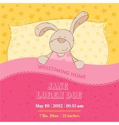 Baby Arrival Card - Sleeping Bunny vector image vector image
