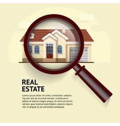 House under magnifying glass vector image