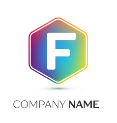 letter f logo symbol in the colorful hexagonal on vector image vector image