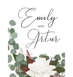 Wedding floral watercolor style invite card design vector