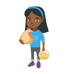 african girl holding a chicken and hen eggs vector image