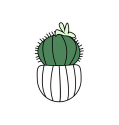 cute cactus with flower in pot vector image vector image