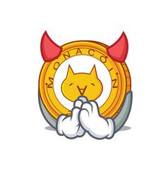 devil monacoin mascot cartoon style vector image