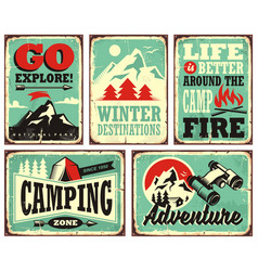 outdoor activities promotional set of posters vector image vector image