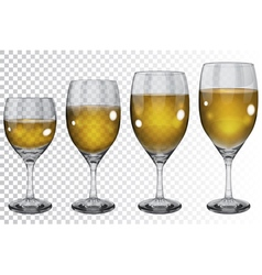 Set of transparent glass goblets with wine vector image