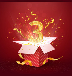3 rd year number anniversary and open gift box vector