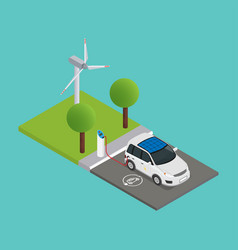 an isometric electric car is charged at the vector image