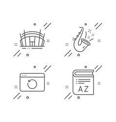 Arena stadium jazz and recovery internet icons vector