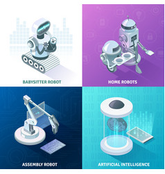Artificial intelligence isometric design concept vector