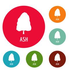 Ash tree icons circle set vector