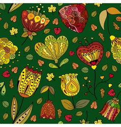 Autumn doodles seamless pattern vector