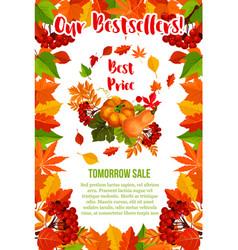 Autumn sale pumpkin maple leaf poster vector
