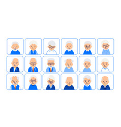 Avatars elderly people of heads of pensioner in vector