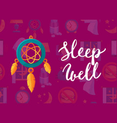 background with cartoon sleep elements vector image