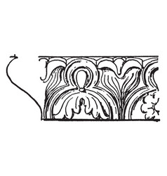 Band molding enriched water leaf molding vintage vector