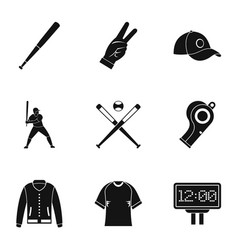 Baseball championship icons set simple style vector