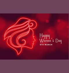 beautiful red lady face for happy womens day vector image