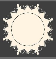 beige round ornament copyspace frame on dark grey vector image