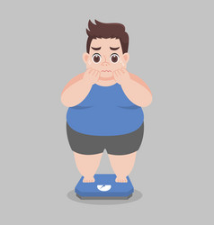 Big fat man worry standing on electronic scales vector