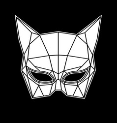 black and white cat woman mask graphics triangles vector image