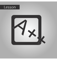 black and white style icon of exam score excellent vector image