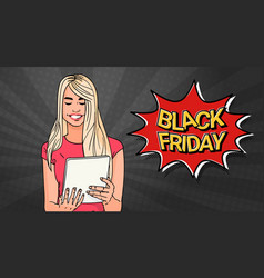 black friday sale poster with girl using tablet vector image