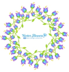 Blue flowers round frame isolated on white vector