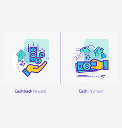 business and finance concept icons cashback vector image