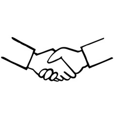 business handshake hand drawing vector image