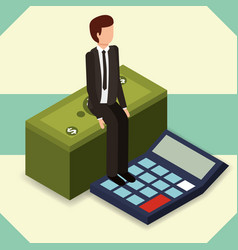 businessman sit on stack banknote and calculator vector image