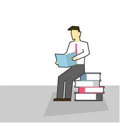 businessman sits on pile books and read vector image