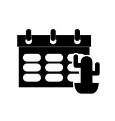calendar and cactus icon vector image