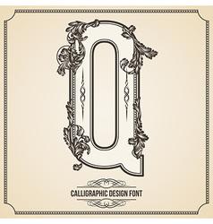 Calligraphic font Letter Q vector