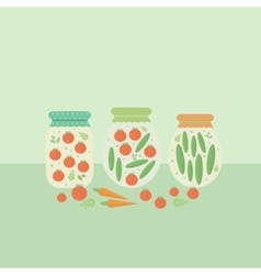Card with glass jars preserves vector