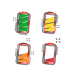 Cartoon battery icon in comic style battery vector