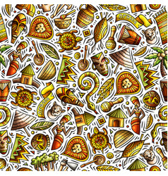 cartoon cute hand drawn african seamless pattern vector image