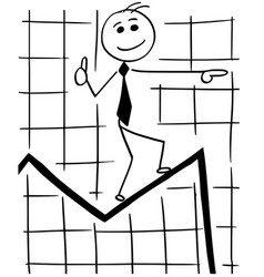 cartoon of business man walking on graph vector image