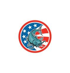 Catfish Swimming American Flag Circle Cartoon vector
