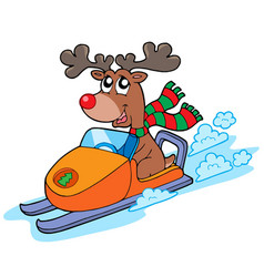 christmas reindeer riding scooter vector image