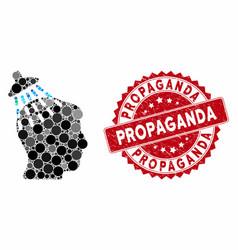 Collage head shower with grunge propaganda stamp vector