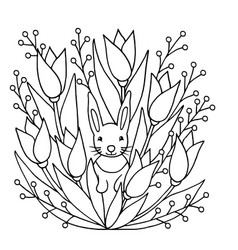 Coloring page with rabbit and flowers vector