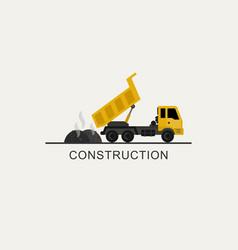 Construction truck unloads asphalt vector