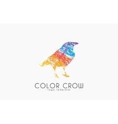 Crow logo Color crow logo Bird logo vector image