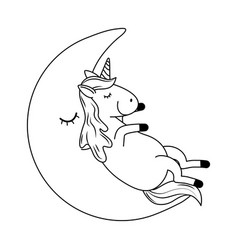 cute fairytale unicorn relaxing in the moon vector image